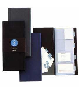 Tarjetero de plástico, sin anillas. Tamaño: 13x27,8 cm. Color negro. Capacidad: 160 tarjetas