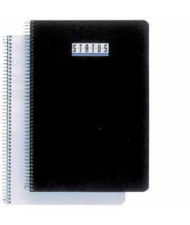 Llibreta Status, quartilla. Tapa de color negre. Acabat quadriculat