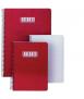 Llibreta Status, quartilla. Tapa de color vermell. Acabat quadriculat