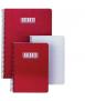 Llibreta Status, foli. Tapa de color vermell. Acabat llis