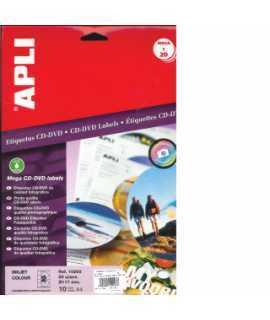 Etiquetas para CD y DVD. Tamaño: 114 mm. Superficie opaca. 100 hojas