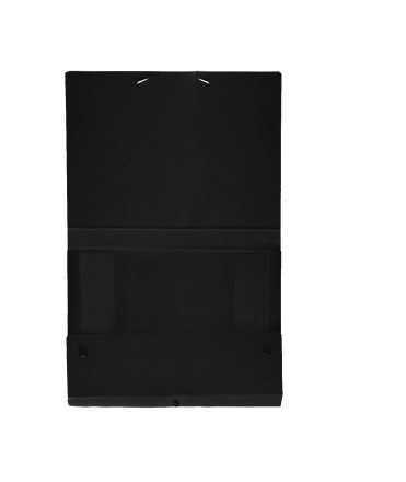 Carpeta de projectes desmontable negre. Mida foli, llom 15 cm.