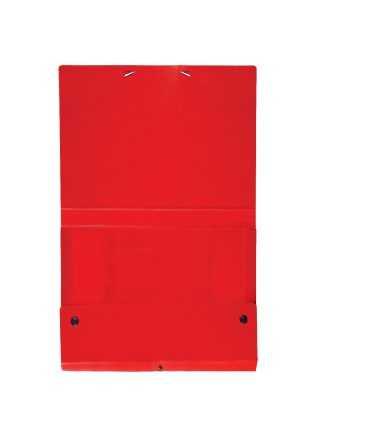 Carpeta de projectes desmontable de color vermell. Mida foli, llom 5 cm.