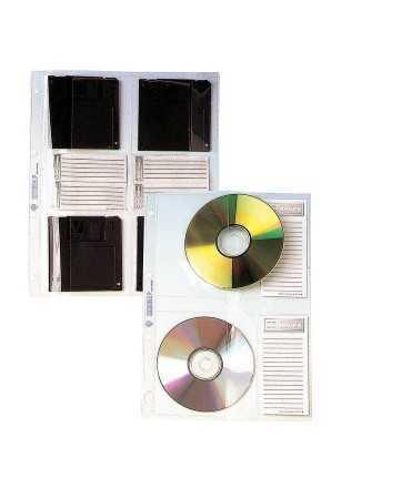 Fundes de PVC per a CD. Mida: 32x23 cm. 16 forats. 6 unitats.