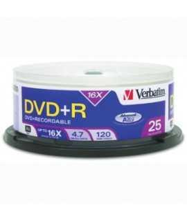 DVD+R Verbatim Impremible. Capacidad 4,7 GB. 25 unidades.