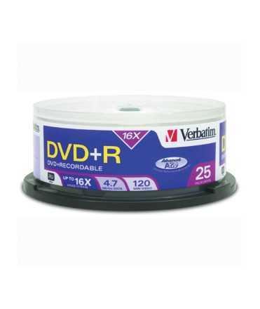 DVD+R Verbatim Imprimible. Capacitat 4,7 GB. 25 unitats.