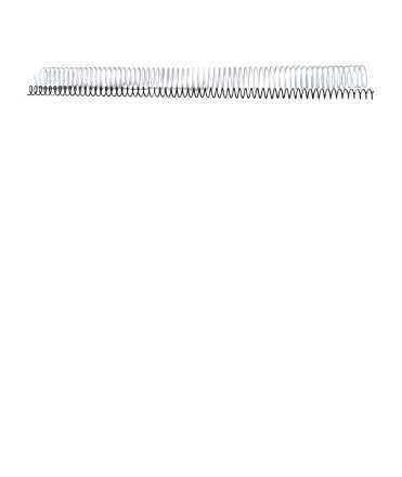 Espirals metàl·liques. Mida: 16 mm. Color blanc. 64 anelles.