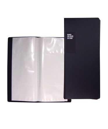 Tarjetero polipropileno, sin anillas. Tamaño: 12x27,5 cm. Color negro. Capacidad: 240 tarjetas