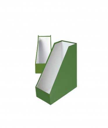 Porta-revistes, cartró. Mida: 32x25x11x7 cm. Color verd