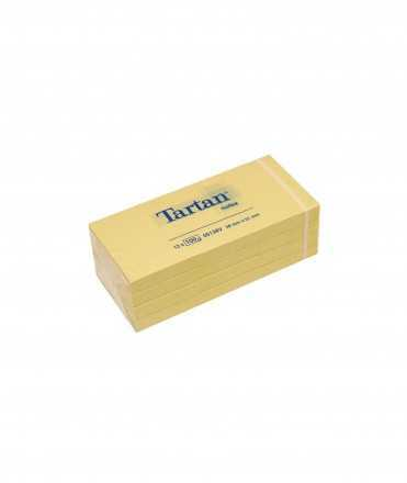 Bloc de notes Tartan. Mida: 3,8x5,1 cm. Color groc. 12 blocs de 100 fulls.