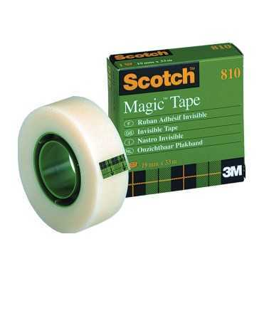 Cinta adhesiva Magic Tape 810. Mida: 12 mm x 33 m. Rotlle de 33 m.