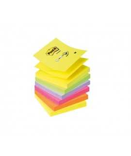 Bloc de notes adhesives en zig-zag Post-it. Mida: 7,6x7,6 cm. 100 fulls.