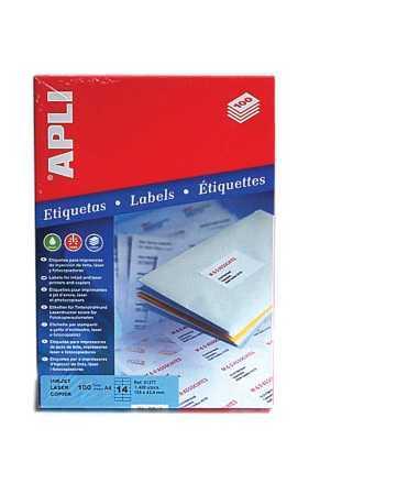 Etiquetes autoadhesives, DIN A4. Mida: 105x42,5 mm. Color blanc. 1400 unitats.