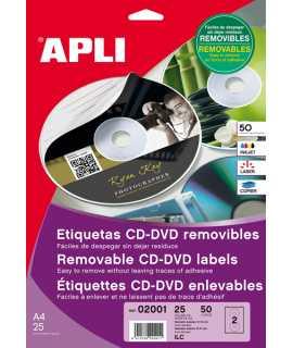 Etiquetas autoadhesivas para CDs, D.114mm. 50 unidades