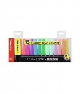 15 Retoladors Stabilo Boss Fluorescent colors assortits
