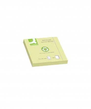 Bloc de notes adhesives posar i treure q-connect 75x75 mm paper reciclat groc