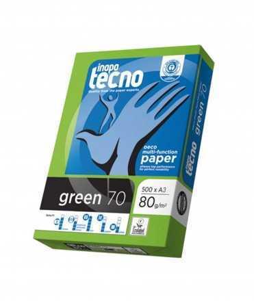 Paper reciclat Inapa Tecno Green DIN A3, 80 g. 500 fulls