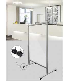 Panel de protección de cristal con ruedas, 120x150cm
