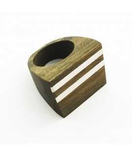 Anell de fusta i plata 120