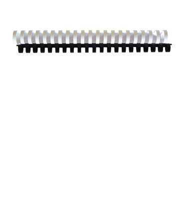 Canonets de plàstic. Mida: 22 mm. Color blanc. 21 anelles.