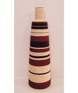 Ampolla folrada amb lli de colors, 61 cm.