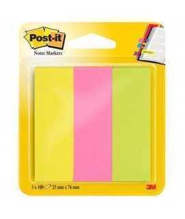 Bloc mini notas adhesivas Post- It. Medida: 2,5x7,6cm. 3 x 100 hojas.