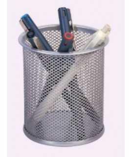 Portalápices metálico rejilla, plata
