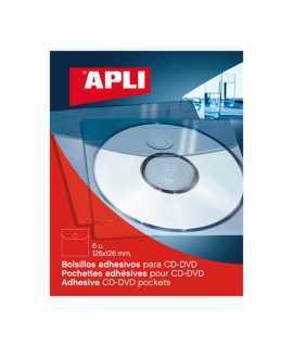 Funda adhesiva de plástico para CDs. Medidas: 12,6x12,6cm. 6 unidades.