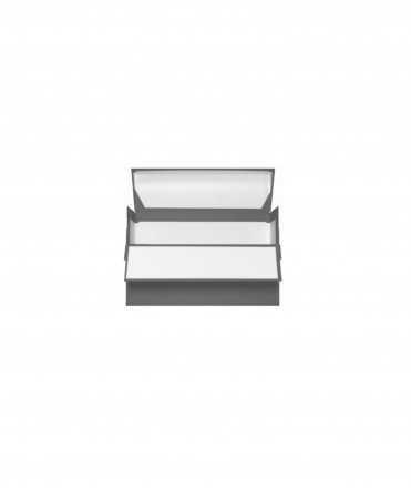 Caixa de transferència color gris. Mida foli, llom 11 cm.