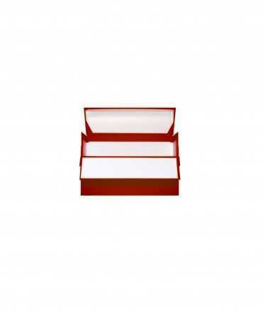 Caixa de transferència color vermell. Mida foli, llom 11 cm.