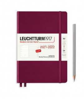 Agenda Leuchtturm1917 semana vista y notas A5 2021, Port Red