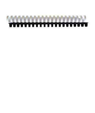 Canonets de plàstic. Mida: 38 mm. Color blanc. 21 anelles.