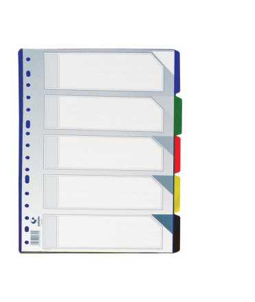 Separador de plàstic transparent mida quartilla 5 posicions