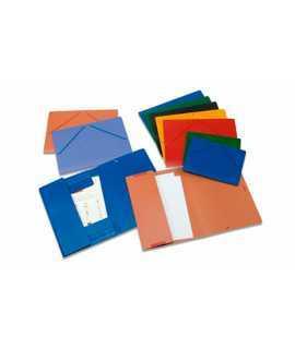 Carpeta con solapas. Tamaño: 35x25 cm. Color azul. Acabado brillante