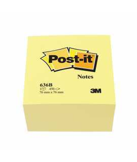 Bloc de notes adhesives Post-it. Mida: 7,6x7,6 cm. 450 fulls.