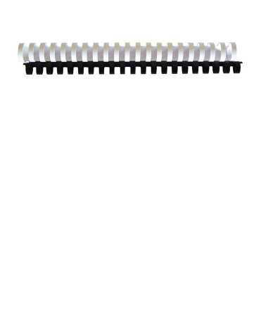 Canutillos de plástico. Tamaño: 45 mm. Color negro. 21 anillas.