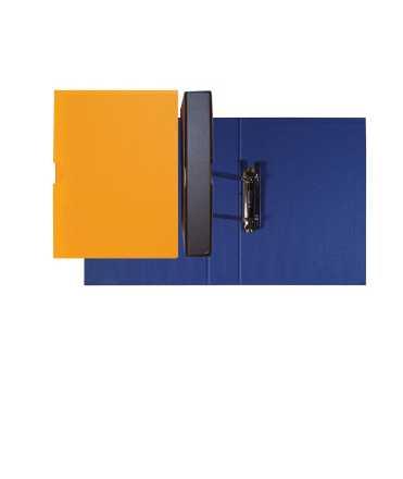 Carpeta amb funda folrada, llom 7 cm. Mida: 35x26x7 cm. Color blau. 4 anelles.