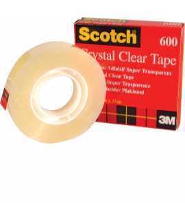 Cinta adhesiva Crystal Clear Tape 600. Tamaño: 12 mm x 33 m. Rollo de 33 m. Acabado satinado.