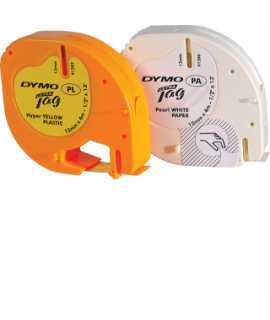 Cintas adhesivas para máquinas de rotular Letratag. Tamaño: 12 mm x 4 m. Color amarillo (91202). Soporte plástico.