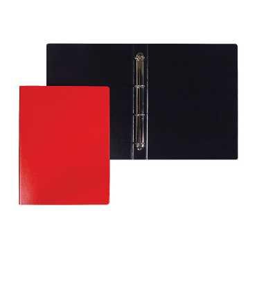 Carpeta, 4 anelles rodones. Llom 3 cm. Mida: 34x26x3. Color vermell